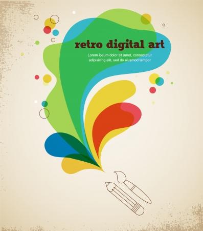 digital art poster with splash color Stock Vector - 17632638
