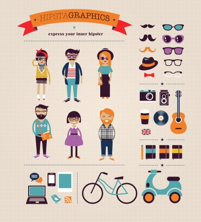 Hipster info graphic concept background with icons photo