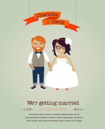 hipster mustache: Hipster wedding invitation card