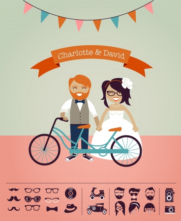 wedding couple: Hipster wedding - design your own invitation card