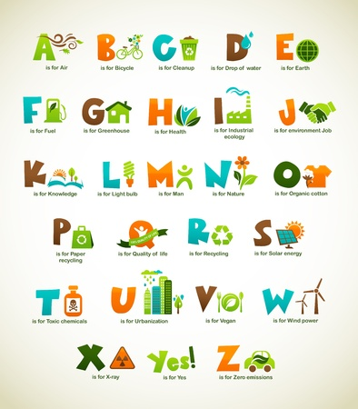 Ecology green alphabet with collection of vector elements Vector