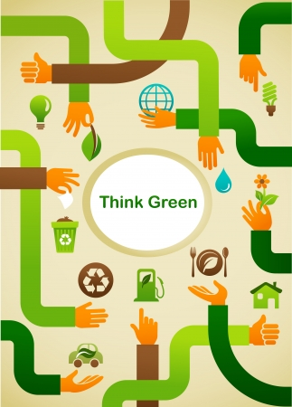 Ecology - Think green background with hands and graphic symbol Vector