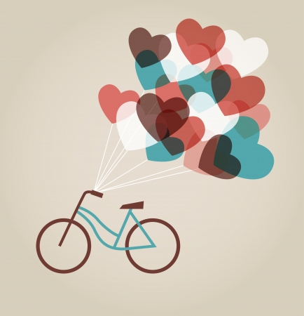 marriage cartoon: Valentine s card with tandem bicycle