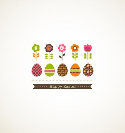 joyeuses p�ques: carte de voeux avec floweres