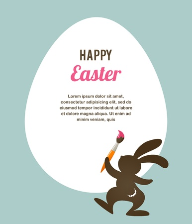 colored eggs: Easter card with bunny
