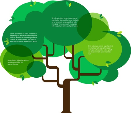 kassen: infographic van de ecologie, concept ontwerp met boom