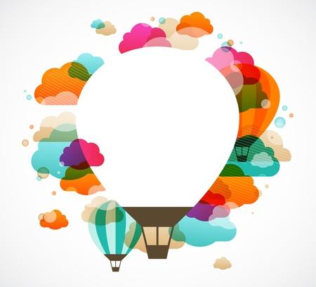 globo de aire caliente, fondo abstracto colorido