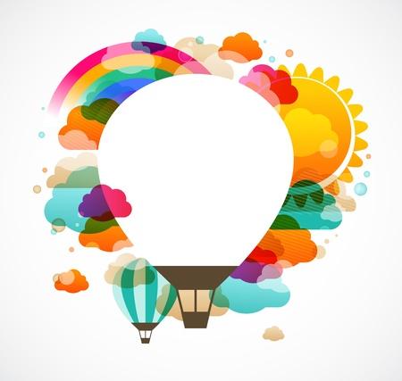 뜨거운 공기 풍선, 다채로운 추상적 인 배경 일러스트