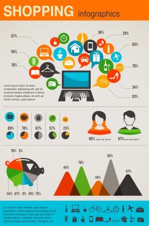 Infographie commerciaux fixés, conception de style rétro