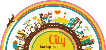 reise retro: Stadt Hintergrund mit Symbolen und Elementen