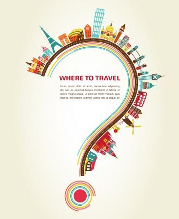 punto di domanda: Dove viaggiare, Punto interrogativo con le icone del turismo e degli elementi Vettoriali