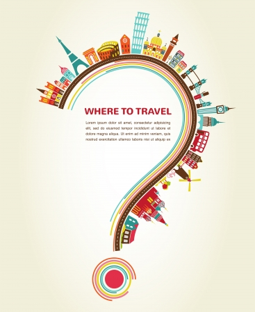 symbol tourism: Where to Travel, question mark with tourism icons and elements