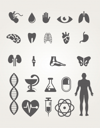 liver cancer: Medical icons set
