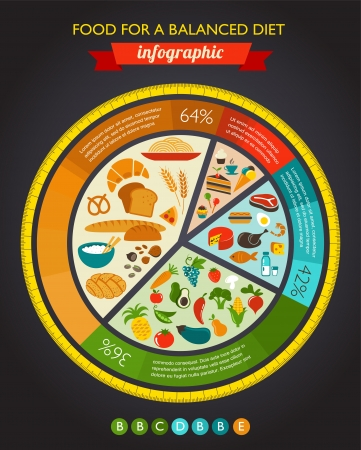 plate of food: Health food infographic, data and diagram