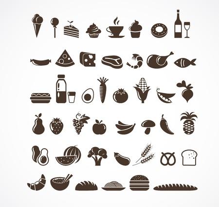 wijn en spijzen: Pictogrammen van het voedsel en elementen Stock Illustratie
