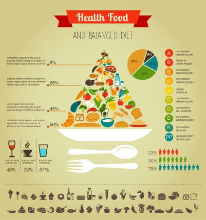 negocios comida: Salud pir�mide alimenticia infograf�a, los datos y el esquema de Vectores