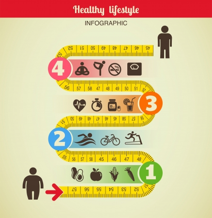 measure tape: Fitness and diet infographic with measure tape Stock Photo