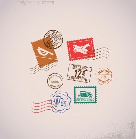 cartoline vittoriane: Vintage sfondo con timbri di gomma