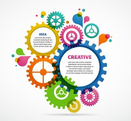 engrenages: Design industriel abstrait color� Illustration