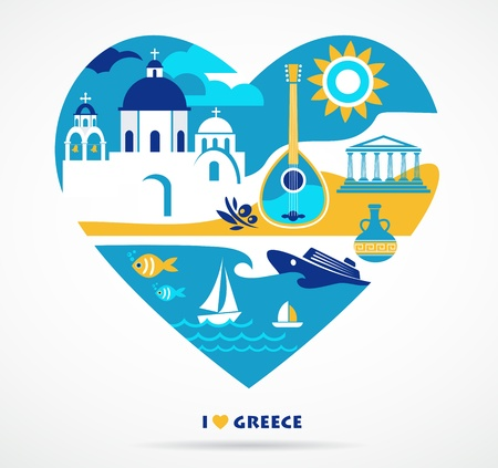 greece flag: Greece love Illustration