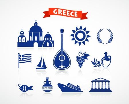 vasi greci: Grecia - set di icone Archivio Fotografico