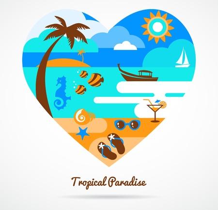 I love tropical paradise Vector