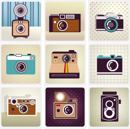 yellow photo: old vintage camera set Illustration