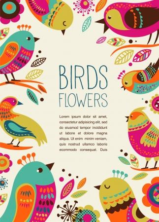 bird: 귀여운 장식 조류와 화려한 배경 일러스트