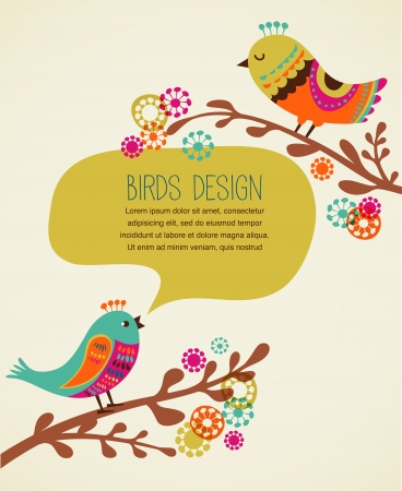 colorful background with cute decorative birds Stock Vector - 18988872