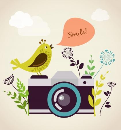 cámara antigua vendimia con el pájaro Ilustración de vector