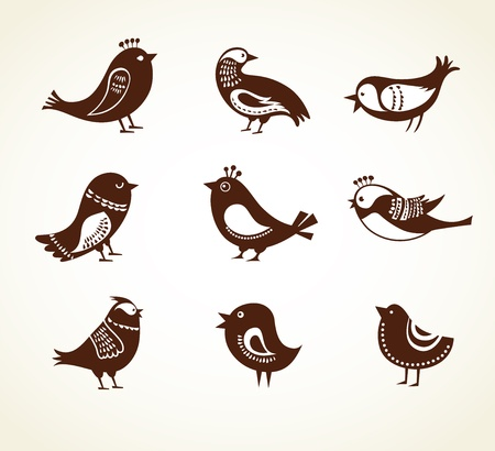 set of cute decorative birds Stock Vector - 19259724