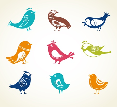 set of cute decorative birds Stock Vector - 19259727