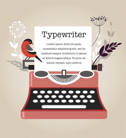 typewriting machine: Vintage Typewriter Illustration