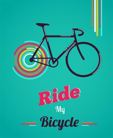 bicicleta retro: Cartel de la bicicleta estilo vintage Vectores
