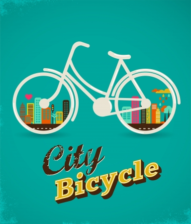 city bike: Bicycle in the city, vintage style poster