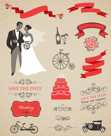 tandem bicycle: wedding set with graphic elements