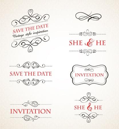 date: Vintage wedding invitations set