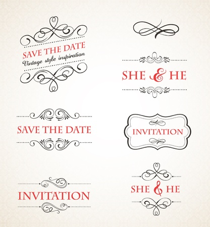 marriage certificate: Vintage wedding invitations set