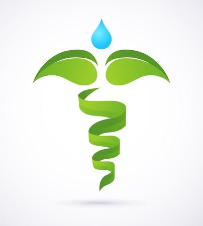 의료 신들의 사자 - 대체 의학 녹색과 자연 상징 일러스트