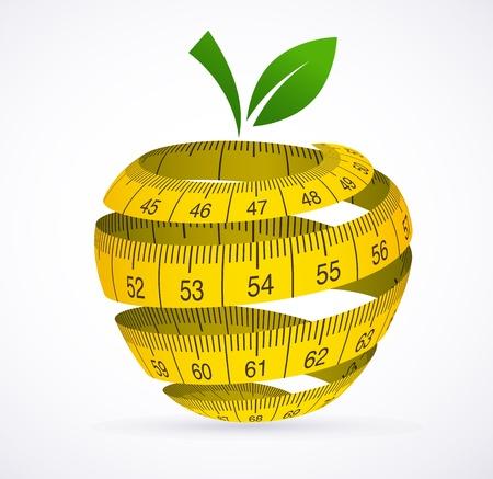 cinta metrica: Apple y cinta de medir, s�mbolo de la dieta Vectores