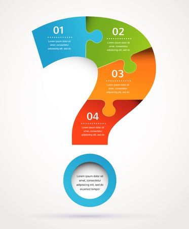 Point d'interrogation conception et l'infographie résumé, fond