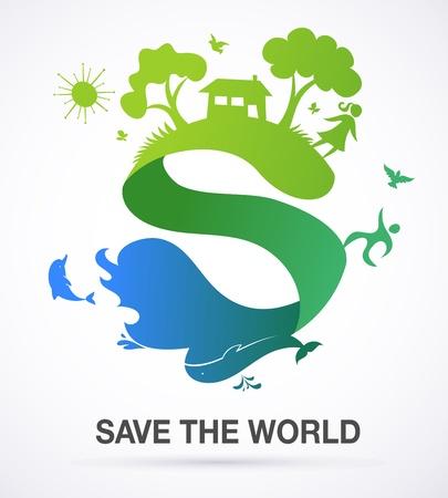 Red de wereld - natuur en ecologie achtergrond met S icoon