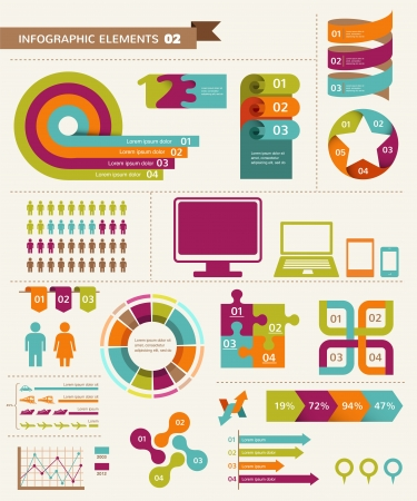 with sets of elements: Elements and icons of infographics  Illustration