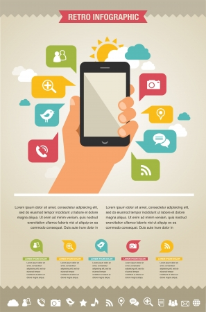 smartphone hand: mobile phone with icons - infographic and website background Illustration