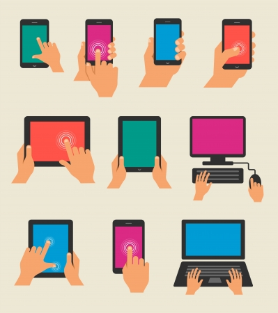 holding smart phone: Set of hands holding tablet and  smart phone Illustration