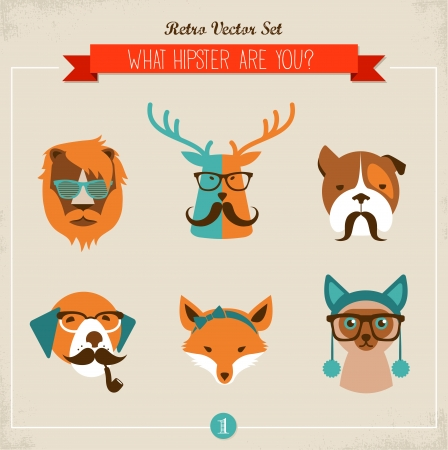 Cute fashion Hipster Animals & pets, set of vector icons Vector