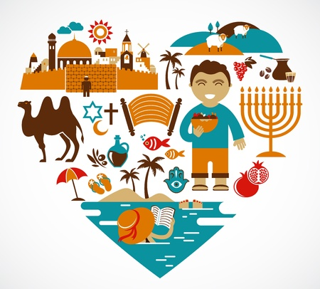 Israel - heart with set of vector illustrations  Stock Photo