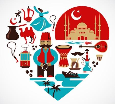 pavo: Turqu�a y el coraz�n con un conjunto de ilustraciones vectoriales