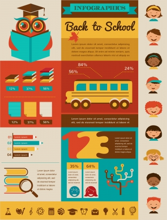 back to school infographic, data and graphic elements photo