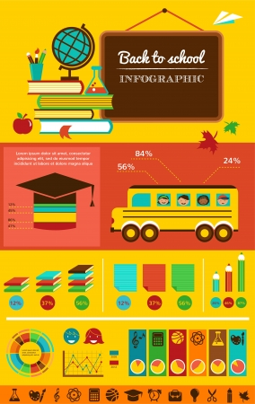 back icon: back to school infographic, data and graphic elements Stock Photo